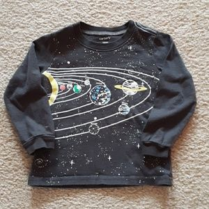 Dark Gray Long Sleeve Space Planets Tee Shirt Top